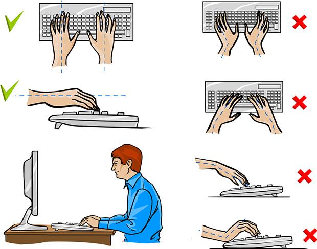Положение рук при слепом методе печати