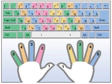Соответствие клавиш пальцам