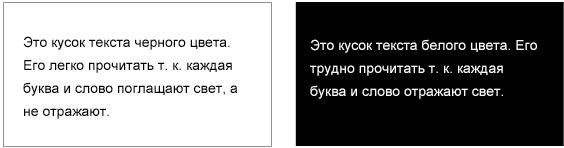 Белый текст на черном фоне